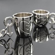 Bluelans 2Pcs Creative Lover's Love Cup Key Chain Ring Keychain Keyfob Keyrings