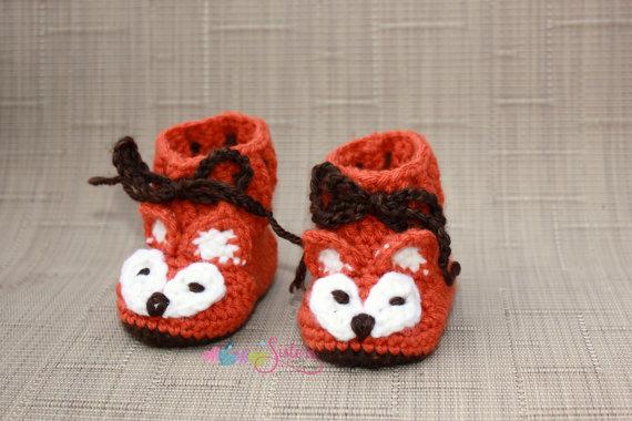 Crochet Baby Booties Crochet Fox Booties Fox Baby Shoes - Crochet Baby Shoes Unisex Baby Shower Gift(China (Mainland))