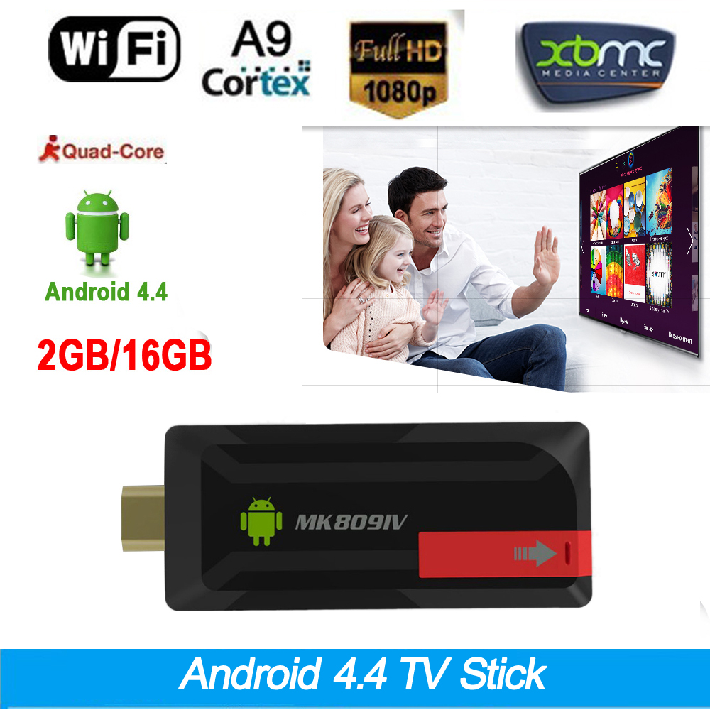 RK3188T 2G/16G Android 4.4 TV Stick Dongle DLNA XBMC WiFi Bluetooth 4.0 Quad Core MK809IV 1080P OTG Mini PC Android tv dongle(China (Mainland))