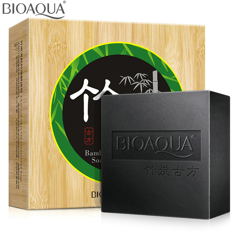 Bamboo Charcoal essential oil Handmade Soap 100g acne whitening soap deep cleansing oil-control face wash hair care Bath(China (Mainland))