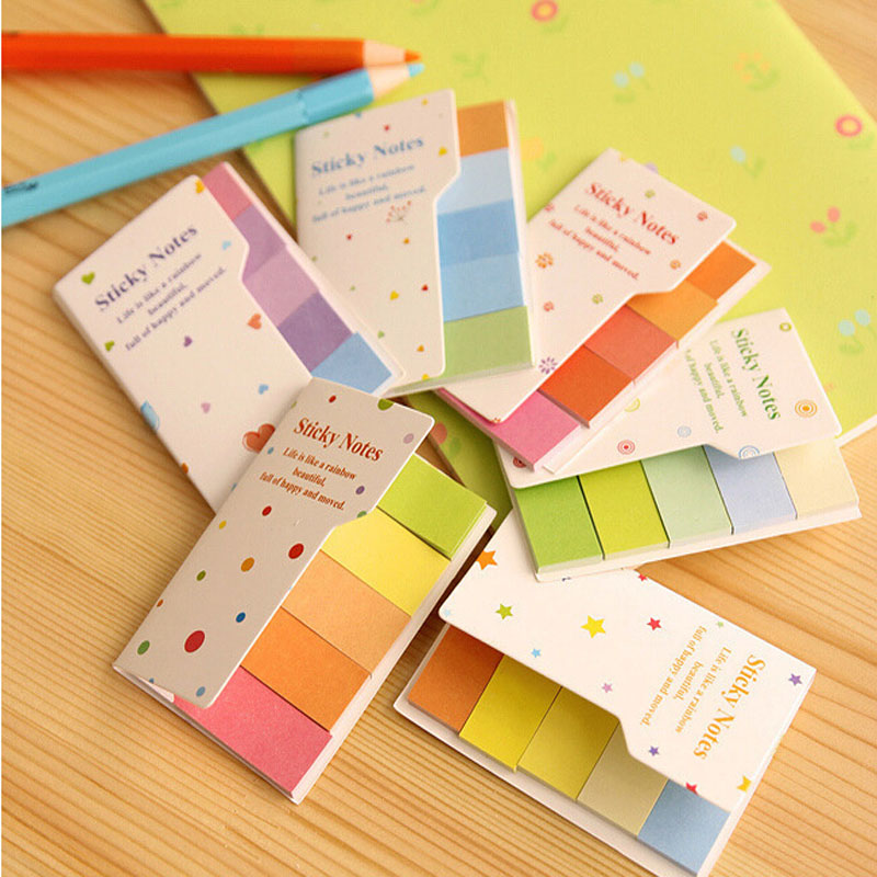 Cute rainbow colored sticky notes and memo pads N times Post it sticker Office material school supplies 7.6(China (Mainland))