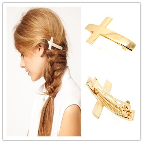 fashion hair accessories women cross punk metal alloy hair pin french barrette clip cuff accessories french hair barrettes(China (Mainland))