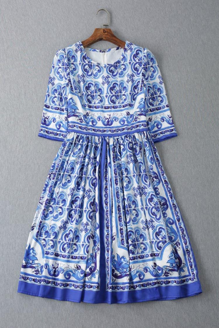 HIGH QUALITY 2015 Designer Runway Womens Vintage Blue Floral Printed Slim 3 Quarter Sleeve DressОдежда и ак�е��уары<br><br><br>Aliexpress