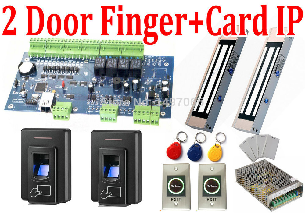 DIY Complete Set of 2 Door Web IP Control Access Controller Board+Magnetic Door Lock+Fingerprint Biometric+EM Card Reader+Power<br><br>Aliexpress