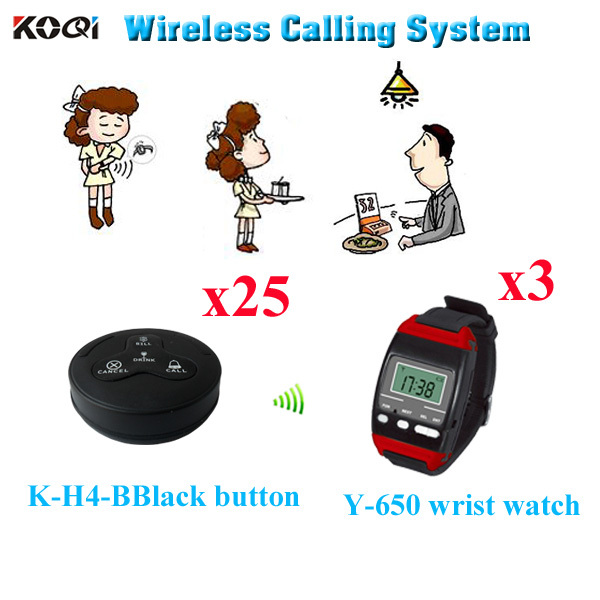 High quality Paging System Buzzer Wireless Pager Coaster Kitchen Equipment ( 3pcs wrist watch+ 25pcs call button)(China (Mainland))