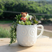 New 2014 Zakka Creative Owl Style White Relief Ceramic Cups Coffee Mugs Tea Cup Flower Pot Planter Free Shipping Russia Brazil