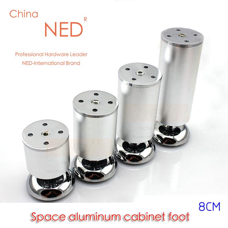 4 шт. NED 8 см высота пространство алюминия мебель ноги твердые таблица шкафа металлической мебели диван телевизор кровать ножек с винтами hamlet ned r