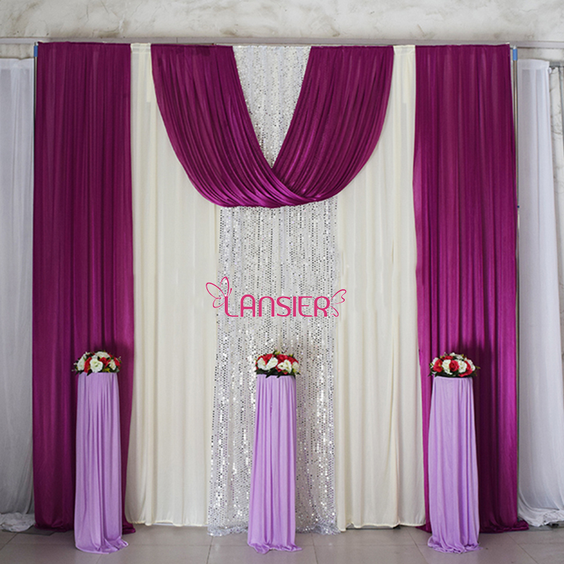 Elegant wedding backdrop curtain with swag wedding drapes for Background curtain decoration