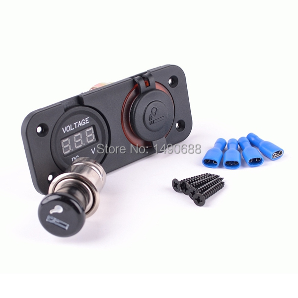 Brand New 12V DCPower Panel Voltmeter Car Cigarette Lighter & Power Socket Caravan car styling cintos - alielectronictop Trading Co., Ltd. store