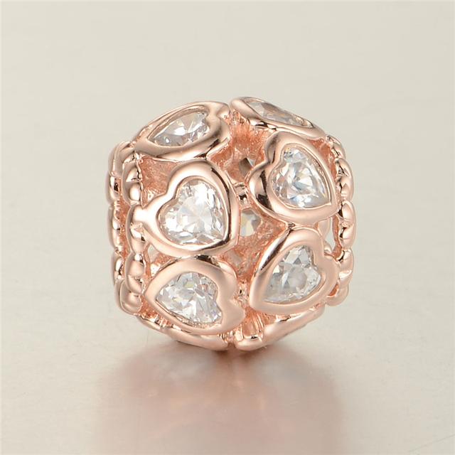 925 - серебристо-ювелирные розового золота CZ сердца бусины Fit пандора оригинальный очаровывает браслеты и ожерелье LW339B DIY