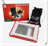 free shipping Whiskey Stones  with color box+velvet bag whisky rock stone cube stones