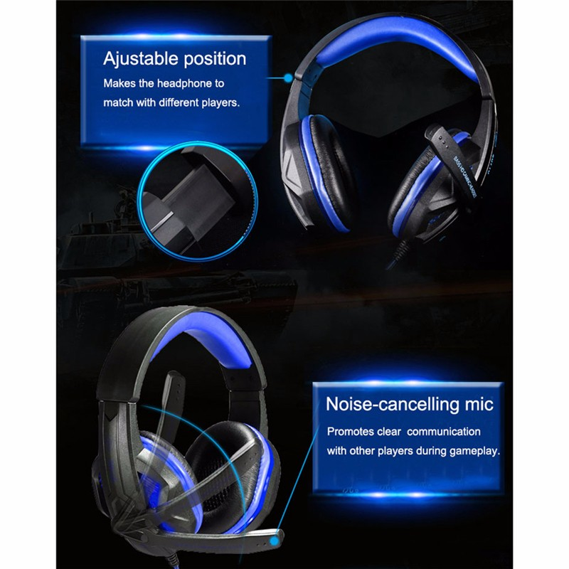 SY711MV Hifi Headphone Headphones Gaming Headset 3.5mm+USB Bass Stereo Noise canceling Microphone Earphone LED for PC Gamer