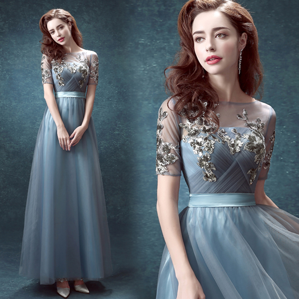 Hot sexy court lace blue wedding dress 2016 short sleeves for Blue wedding dress with sleeves