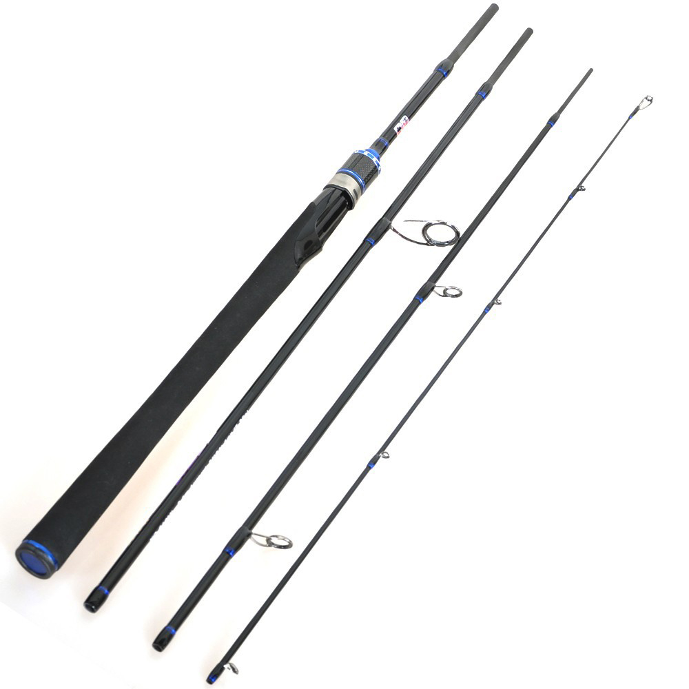 Travel Spinning Rod 2.1/2.4/2.7m Blue 4 Section ML Action Portable Rod Trout Fishing Tackle Carbon Rod Pesca For Fishing(China (Mainland))