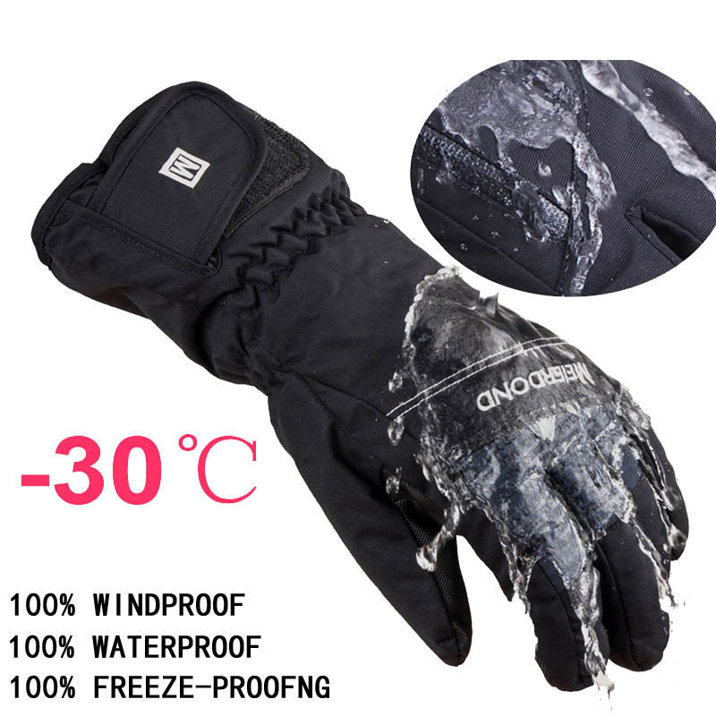 -30 degree unisex warm snowboard gloves for winter men snow windproof guante nieve ski gloves(China (Mainland))