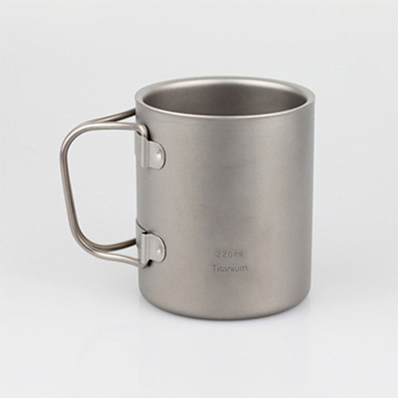 220ml Titanium Cup Mug Double-wall Vacuum Thermal Insulation Water Cup Outdoor Camping Traving Ultralight 83g KS32(China (Mainland))