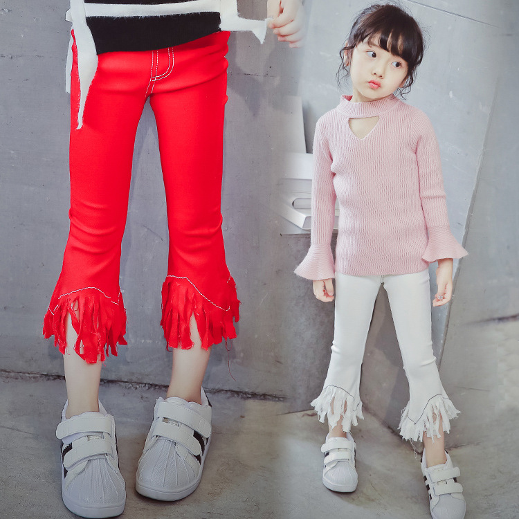 2016 spring Autumn Korean children's wear white red black jean trousers girls slim pants tassel bellbottoms(China (Mainland))