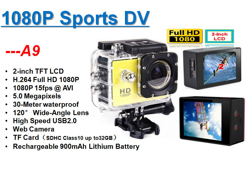 Gopro Style A9 Motion Digital camera Car Digital camera Recorder 1080P Full HD 5.0MP 2.0 Inches Screen Helemet 30M Waterproof DV DVR 2015 Newest (2)