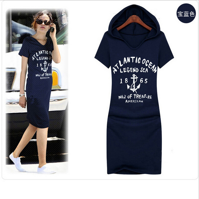 2015 New Fashion Women Casual Hooded Cotton Print Bodycon Borse Femme Plus Dress Loose Plus size Knee Length Sumners Sport Dress(China (Mainland))
