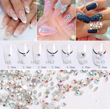 Wholesale ss3 -ss40 Flat Back Crystal AB ( 3d Nail Art decorations ) Non Hot Fix Glue on Rhinestones for nails stone DIY