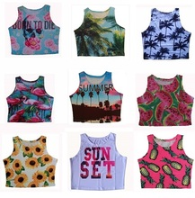 2015 New summer style womens crop tops palm tree and pineapple blusa sexy tank top cropped(China (Mainland))