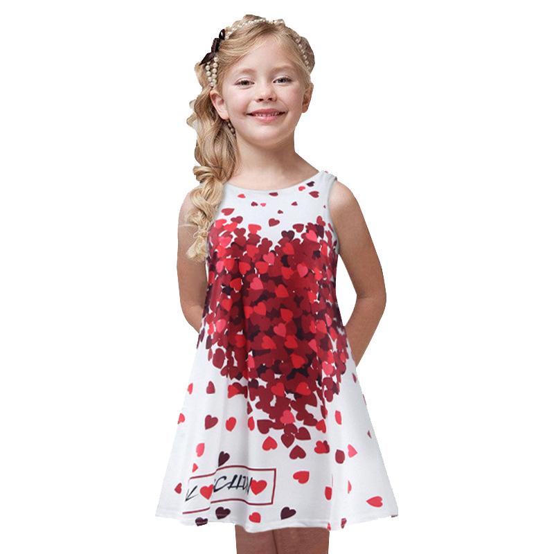 Summer Formal Dresse Children girls clothes Fashion Rose love stamp Girl Dress Sleeveless Baby Girls Dress for 3-7Y Kids babies(China (Mainland))