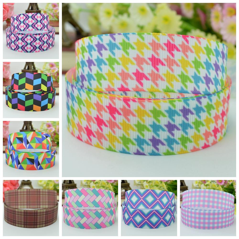 "Free shipping 7/8"" 22mm lattice plaid Printed grosgrain ribbon hairbow party decoration DIY handmade wholesale OEM 50YD(China (Mainland))"