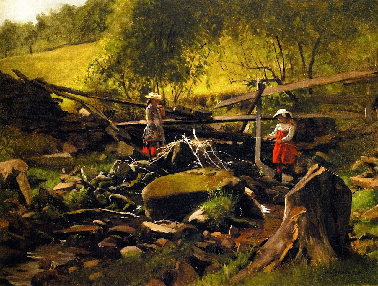 Fishing - Fort Lee, New Jersey - By John George Brown - Unframed(China (Mainland))