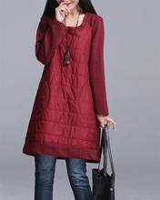 2016 Fashion Autumn Winter Loose Dress Patchwork Black Gray Wine Red Ropa Mujer O-Neck Brief Female Vestidos Tunic M L XL 2XL(China (Mainland))