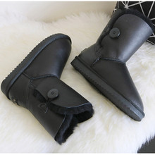 Classic Natural Sheepskin Snow Boots Middle Calf Natural Wool Sheep Fur Button Boot Winter Black Flat Genuine Leather Snow Boots(China (Mainland))