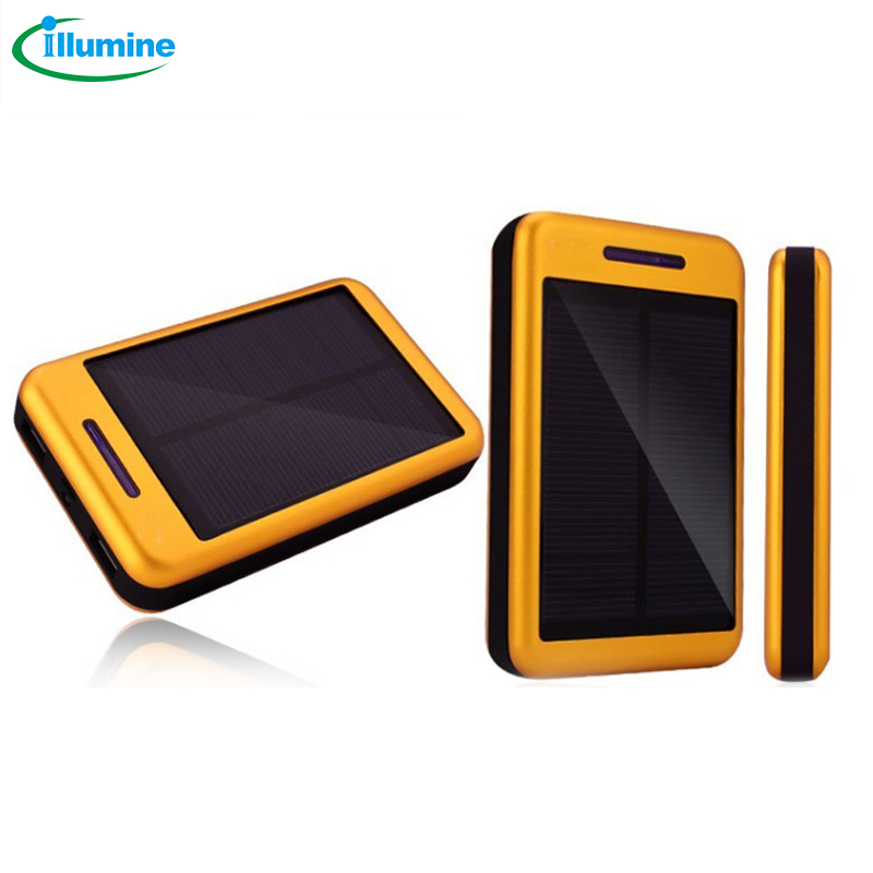 HFT-3 13000mAH Solar Mobile Power Supply Doule USB Output V8 Charge port Li-Polymer Battery With Led light  Size 128*78.5*24.5mm