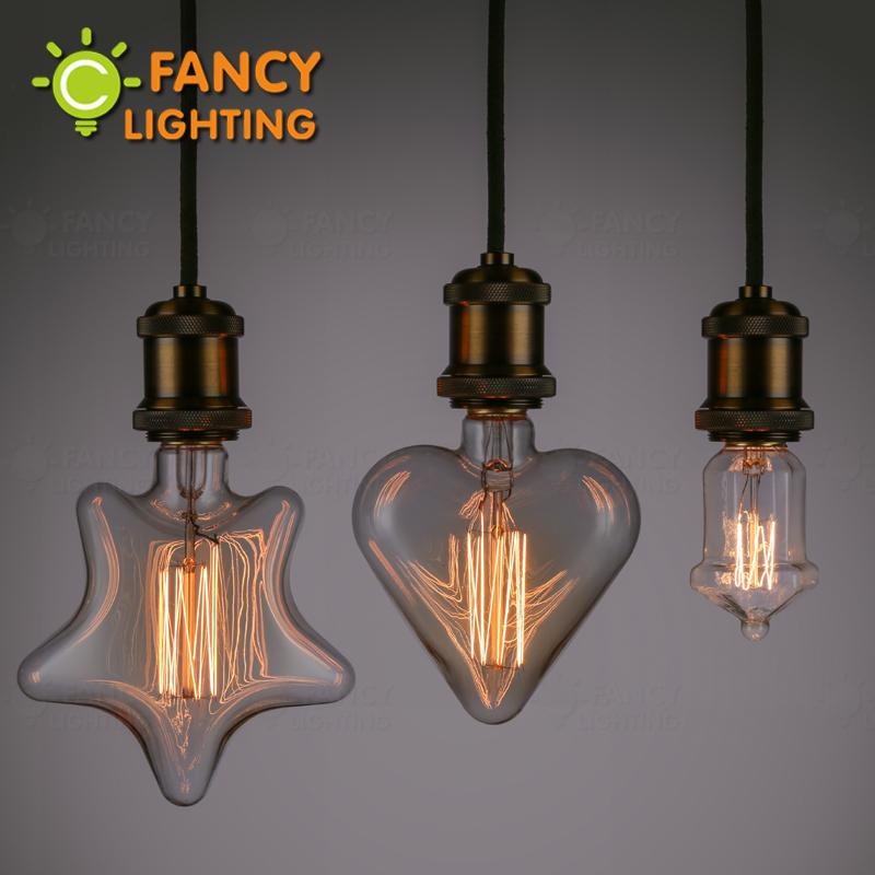 Vintage Edison Bulb Retro Filament Lamp Bulb E27 110/220V Star&Heart&Pavilion 40W incandescent Light Bulb Miniature antique Bulb(China (Mainland))
