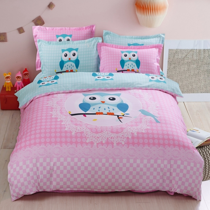 Cartoon 3/4pcs Bedding Sets Twin/Queen Size Bed Linen Bedclothes Owl Printed Bed Sheet Duvet Cover Set(China (Mainland))