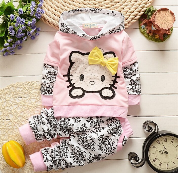 2015 New High Quality Hot Baby Girl Clothing Sets child Hello Kitty Girls set child outfits all kids clothing and accessories(China (Mainland))