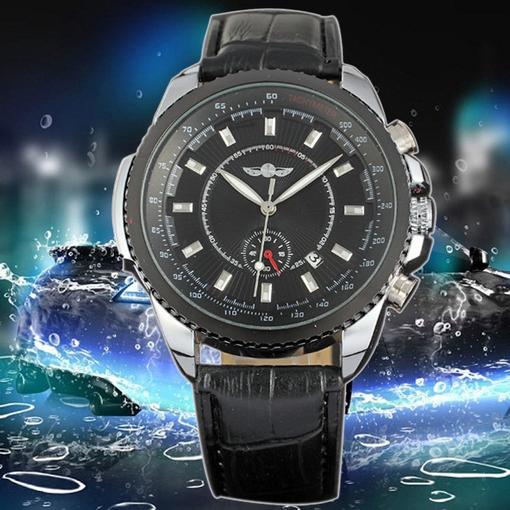Winner Automatic Watches Men Black Leather Strap Mechanical Male Clock Relogio Masculino Mens Business Wrist Watches<br><br>Aliexpress