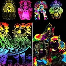 10 Sheets 16K Colorful Magic Scratch Art Painting Paper With Drawing Stick Gift(China (Mainland))