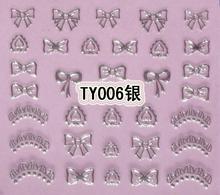 20pcs/lot Silver new technology nail polish oil applique nail art set decoration rich silver bow necklace nail art(China (Mainland))