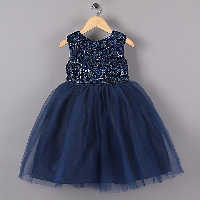 2014 New Blue Princess Girl Party Dresses Flower Sequined Tutu style Wedding Dress for Christmas girls clothes 3-6 years<br><br>Aliexpress