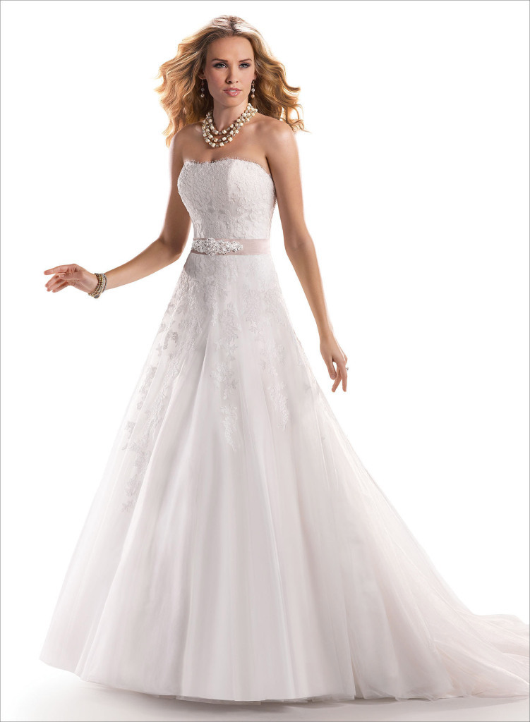 White A Line Wedding Dresses : White strapless wedding dress a line lace up bridal wear