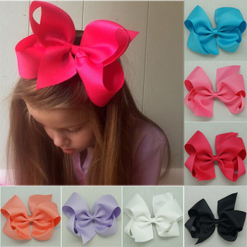 "6"" Hot Sale Grosgrain Ribbon Hair Bows Boutique Solid Hairbow With Mental Clips High Qualtiy Baby Girls Hairbows"