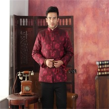 Discount Burgundy Winter Thick Male Polyester Overcoat Chinese Cotton-padded Jacket Traditional Tang Suit S M L XL XXL XXXL(China (Mainland))