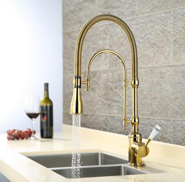 European style brass Gold/Chrome finished kitchen faucet dish basin spring cold heat sink multi-function rotating water tap(China (Mainland))