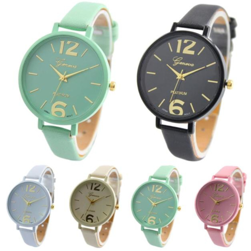 Fashion Geneva Women Watches Faux Leather Clock  Waterproof Analog Quartz Wrist Watch
