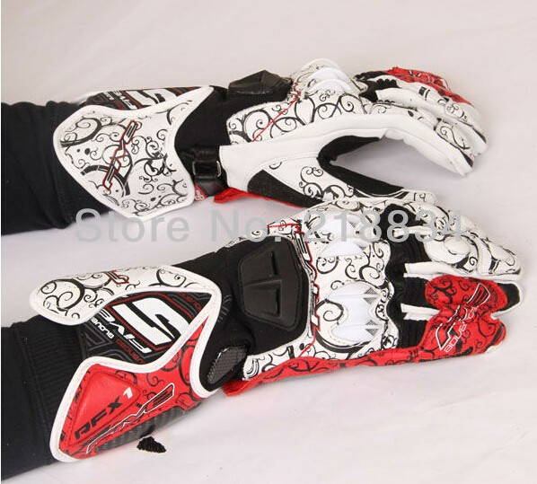 Free shipping Newest  FIVE 5   printed racing gloves Genuine leather gloves motorcycle gloves full finger 3 color