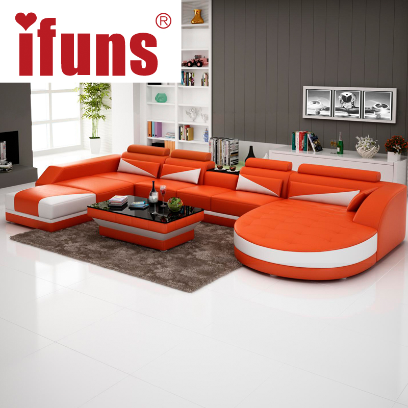Ifuns modern luxury u shaped design sofa set genuine for Sofa set designs for living room