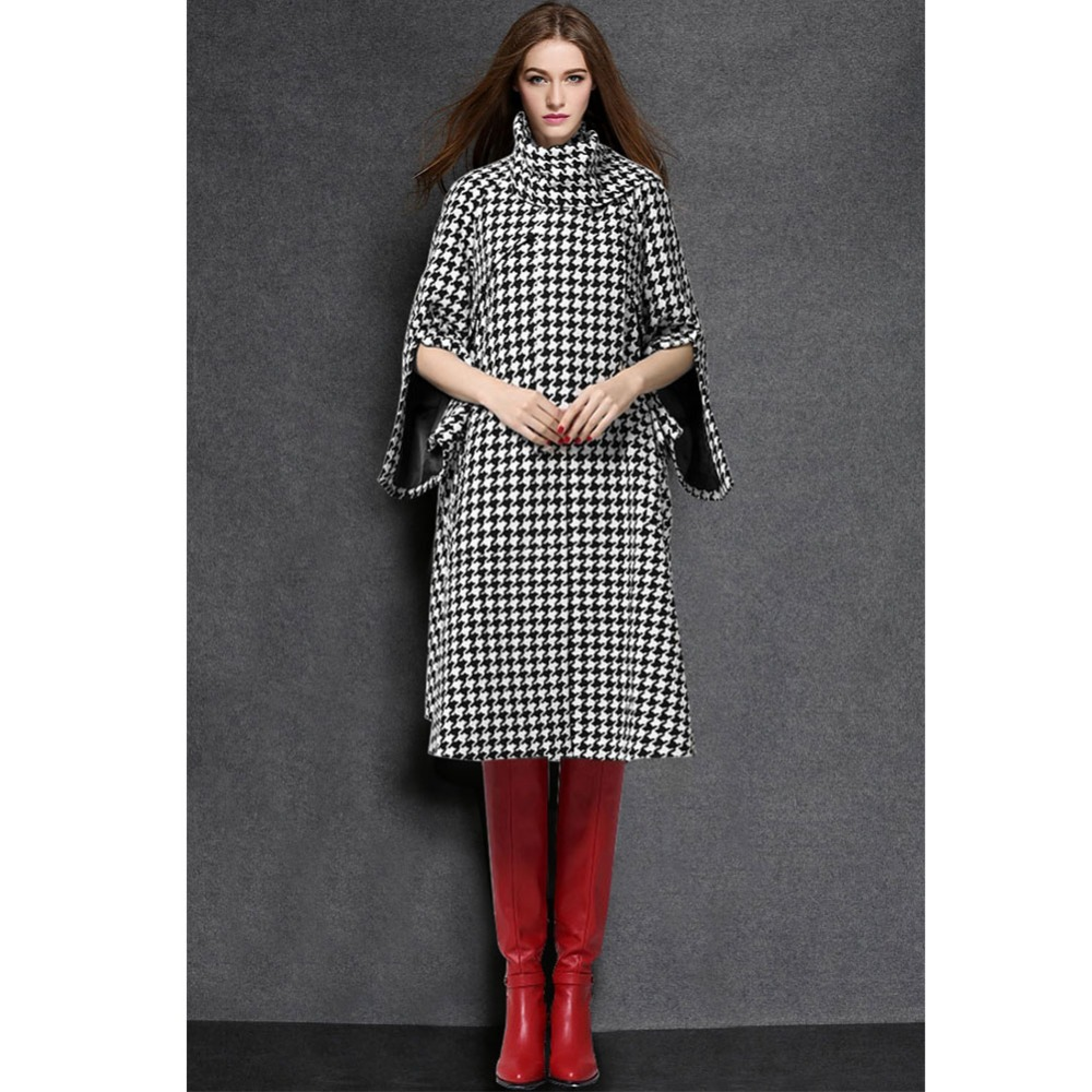 2015 New Fashion Autumn and Winter Women Casual Houndstooth Woolen High Collar + Scarf Long Coat Jacket Outwear Tops W031Одежда и ак�е��уары<br><br><br>Aliexpress