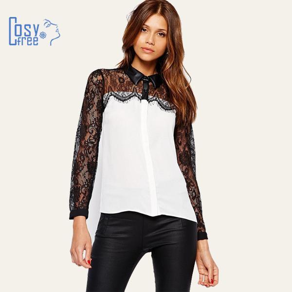 Женские блузки и Рубашки CosyFree 2015 Blusas Femininas PU женские блузки и рубашки summer blouse blusas femininas 2015 roupas s