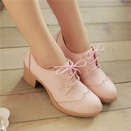 England Woman Round Toe Lace Oxfords Female Office Lady Casual Comfort Brogue Shoes Plus Size - Family go store