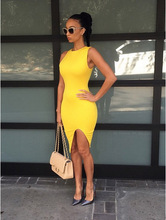 Female 6 colors dress 2015 vestido summer women sexy Package buttocks Sleeveless slim party bodycon bandage  Dresses(China (Mainland))