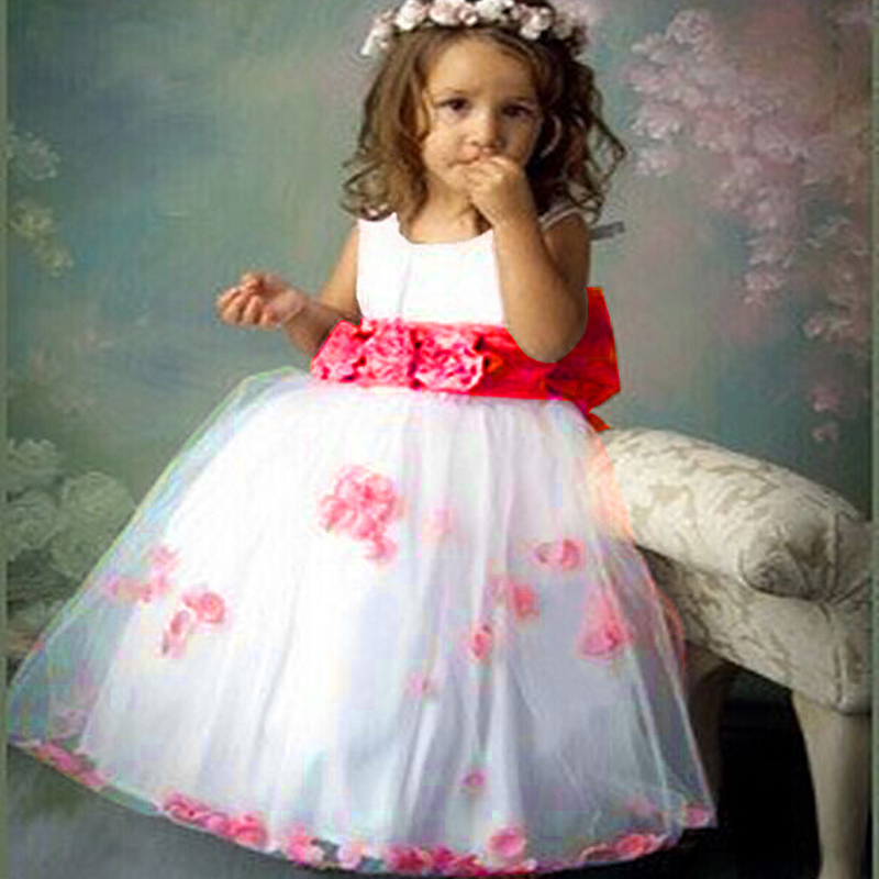 New Princess Sleeveless Flower Girls Dress Party Ball Kid Outfit Lovey Baby Dresses Bow Child Princess Ball Gown Kids Clothes<br><br>Aliexpress